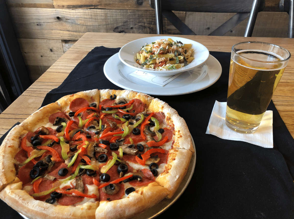 pizza with glass of beer