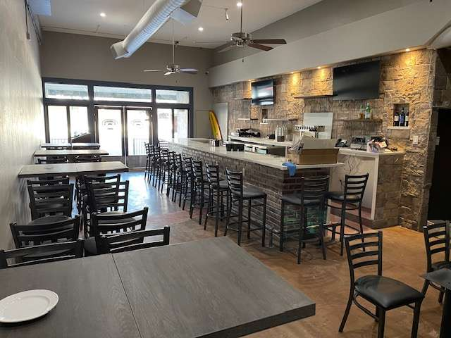 bar and tables