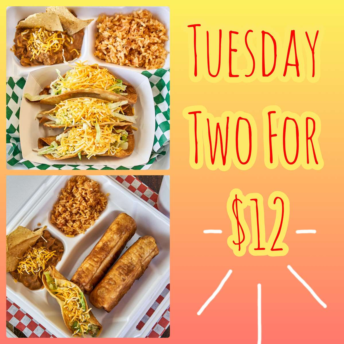2 Dinners for $14