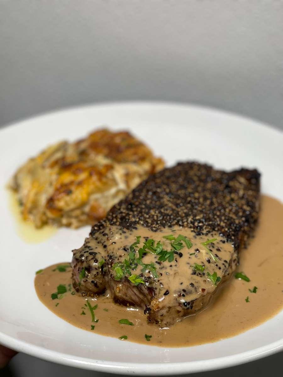 Pepper Crusted NY Steak