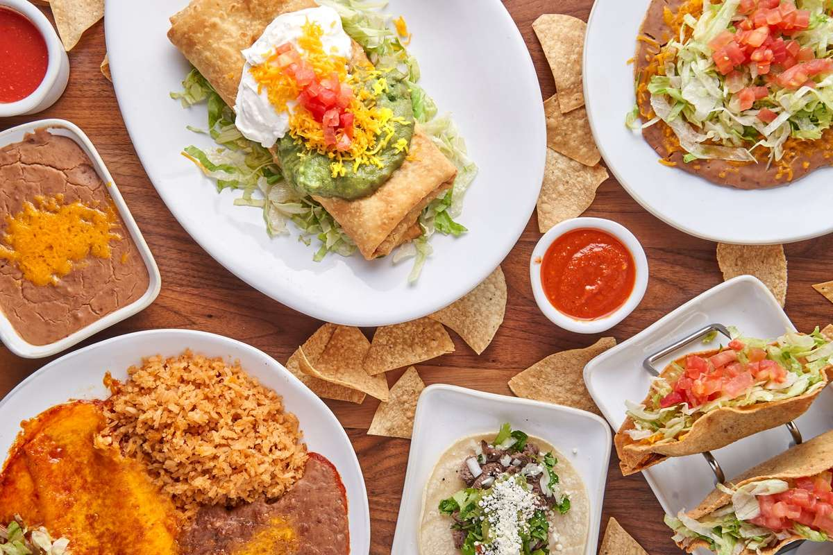 group shot of mexican food
