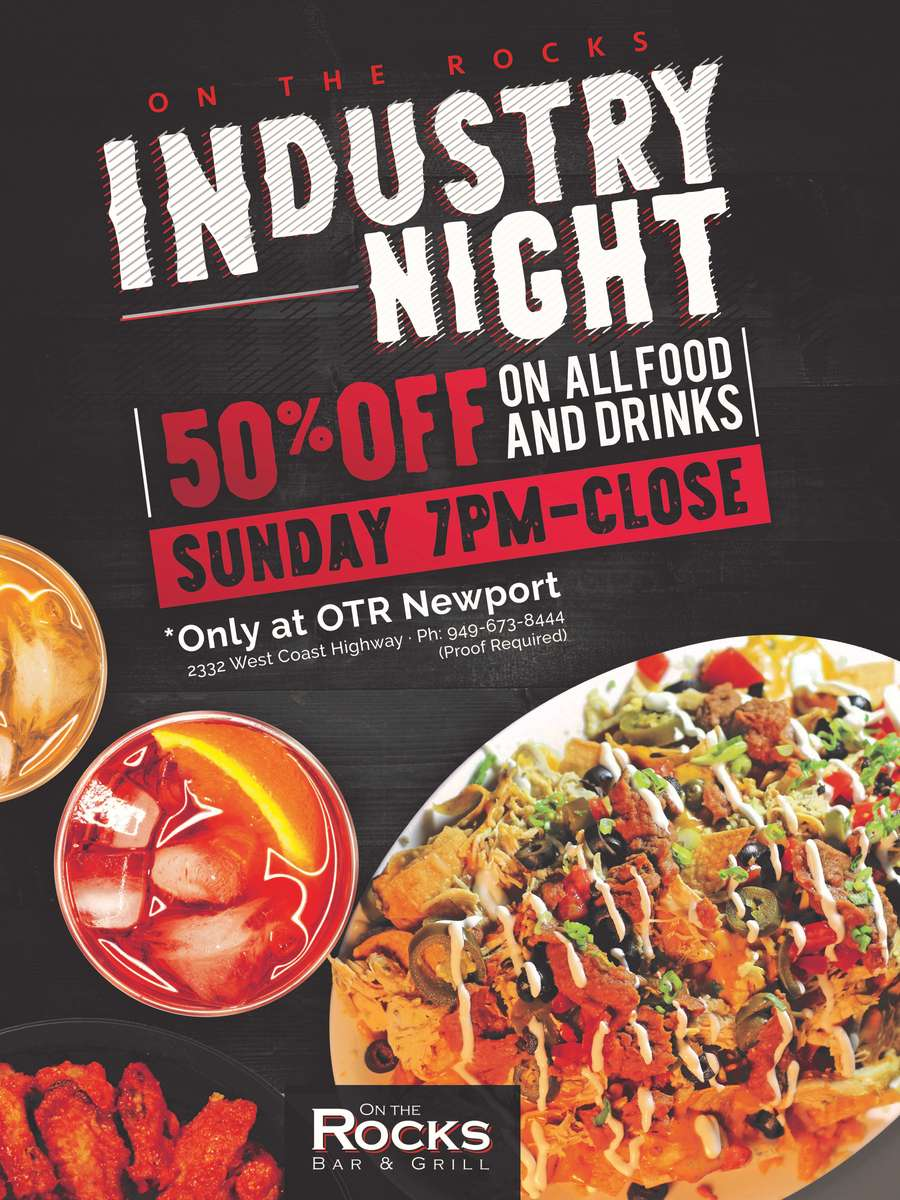 Industry Nights Every Sunday From 7 AM to Close.