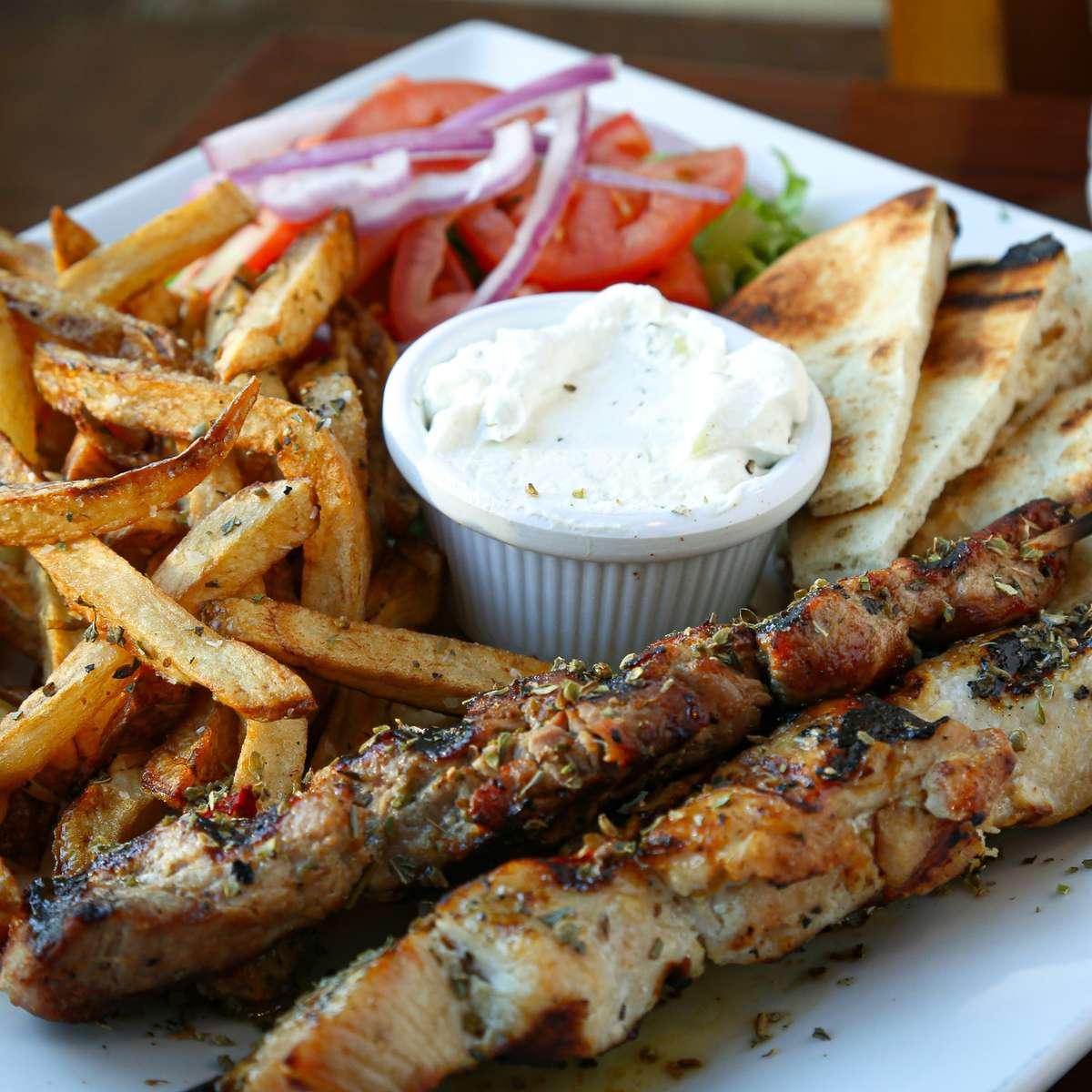 Chicken or Pork Souvlakia