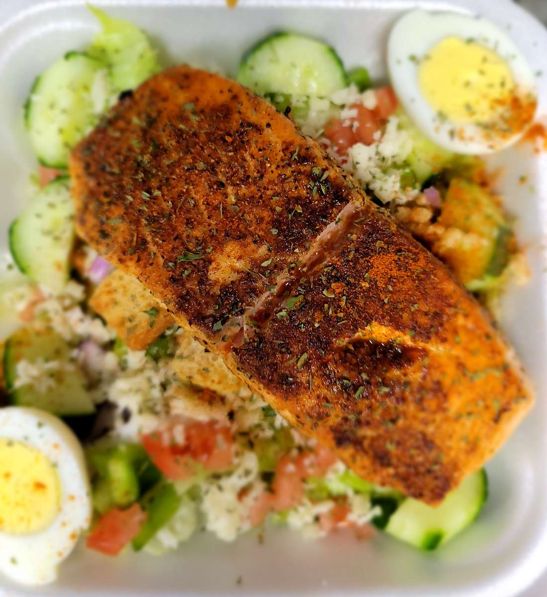 Pan Seared Cajun Salmon Salad