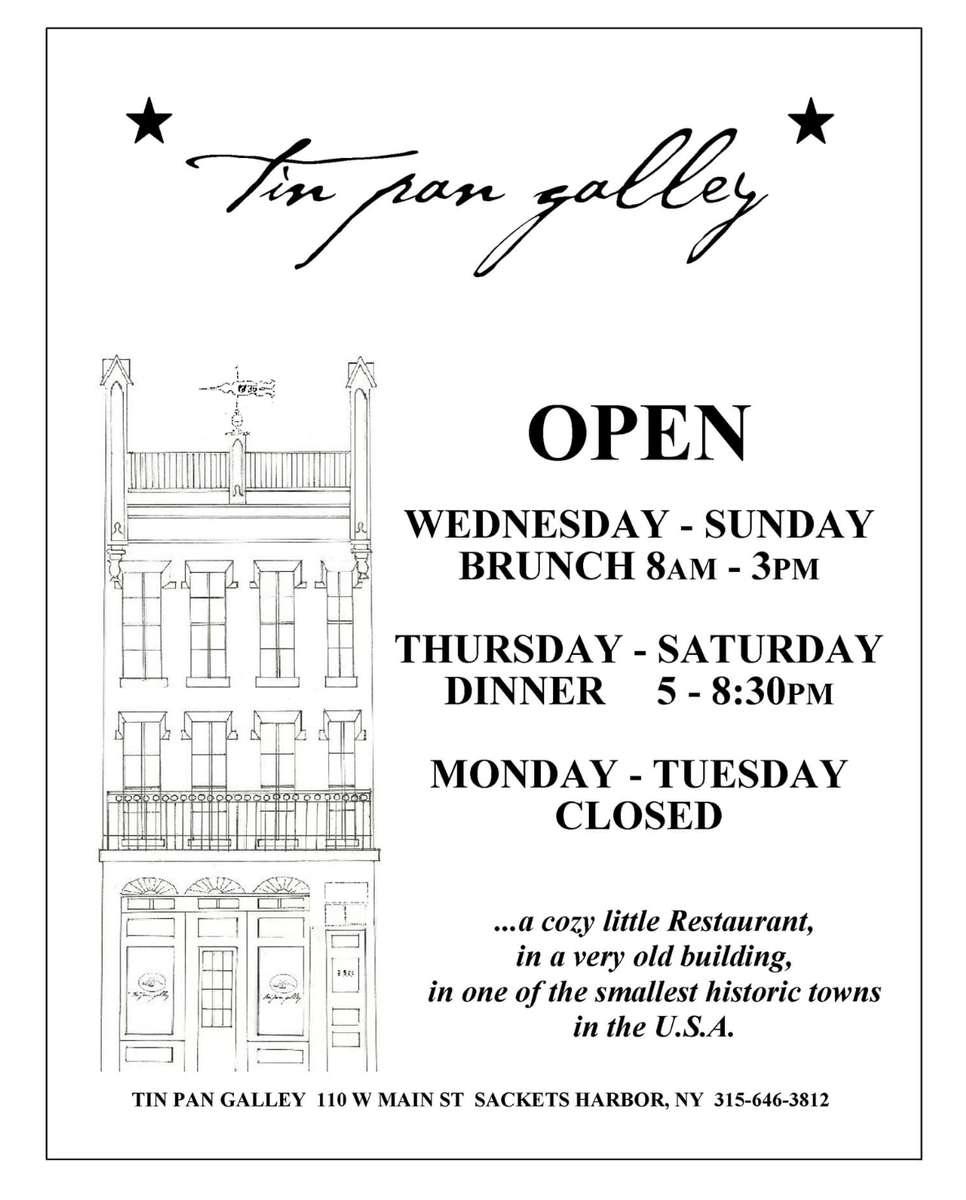 Open Wed-Sun Brunch 8AM-3PM, Thurs-Sat Dinner 5-8:30PM.  Closed Mon-Tues.