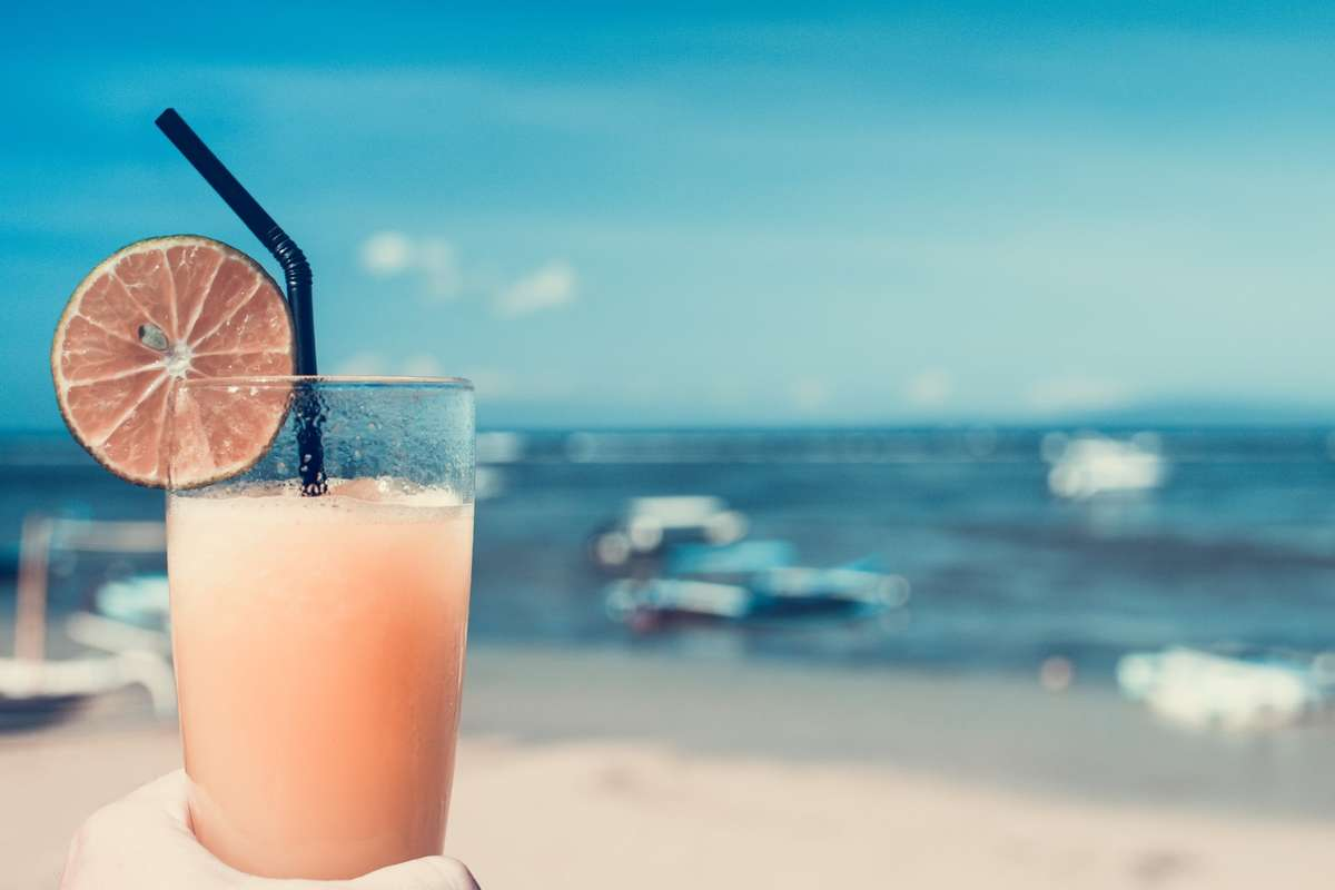 cocktail and beach