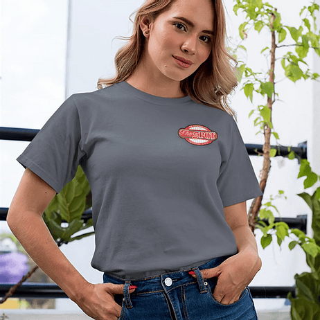 Gray women's short sleeve classic tee with small The Spot Cafe logo on the front and large on the back.