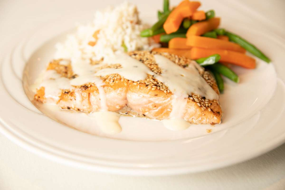 Roasted Ginger & Sesame Seed Crusted Salmon