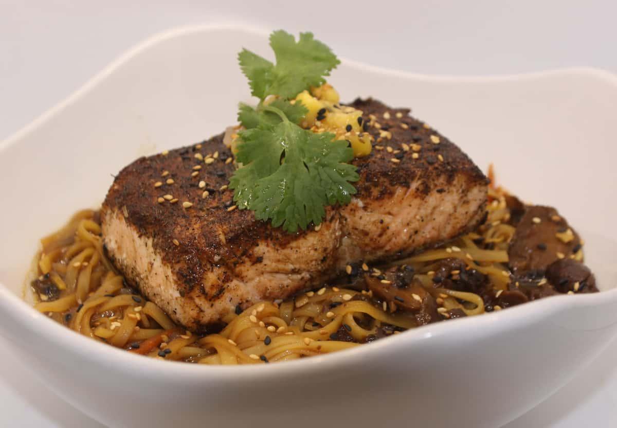 Blackened Salmon Noodle Bowl