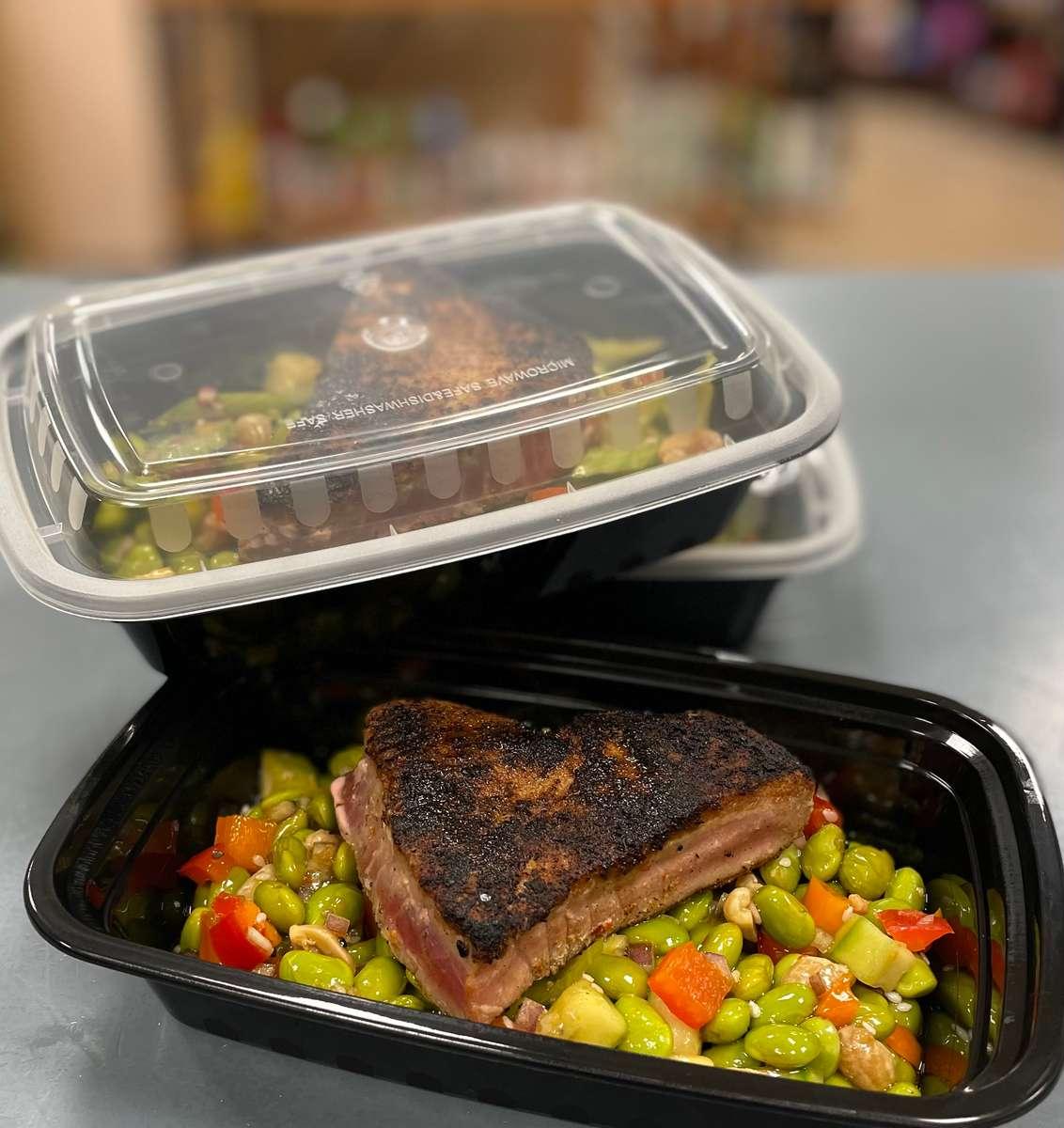 Seared Ahi Tune with Asian Edamame Salad (gf)