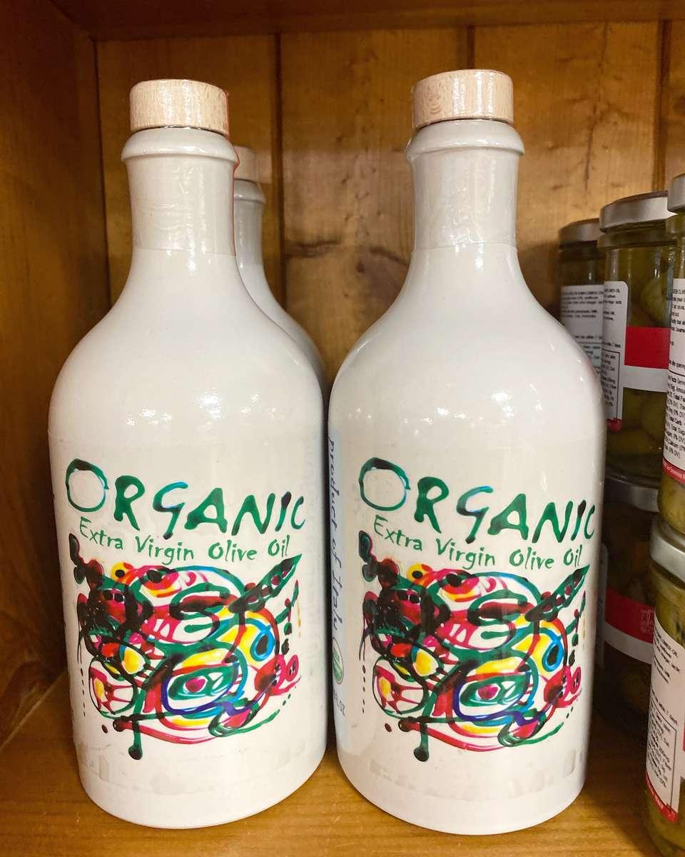 Organic EVOO in ceramic bottle