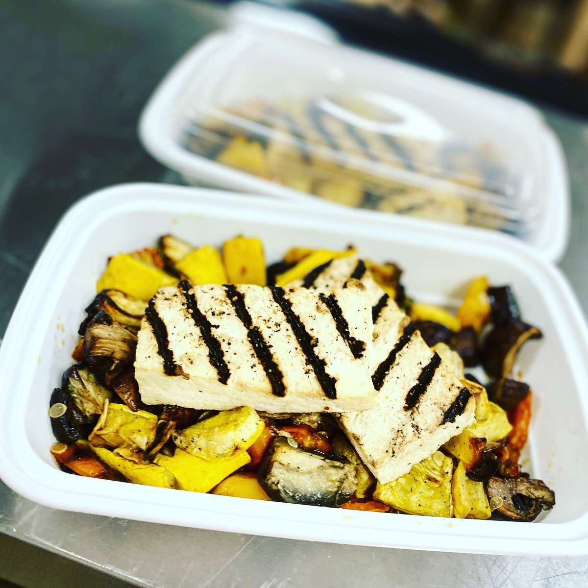Grilled Tofu with Asian Edamame Salad (vegan)