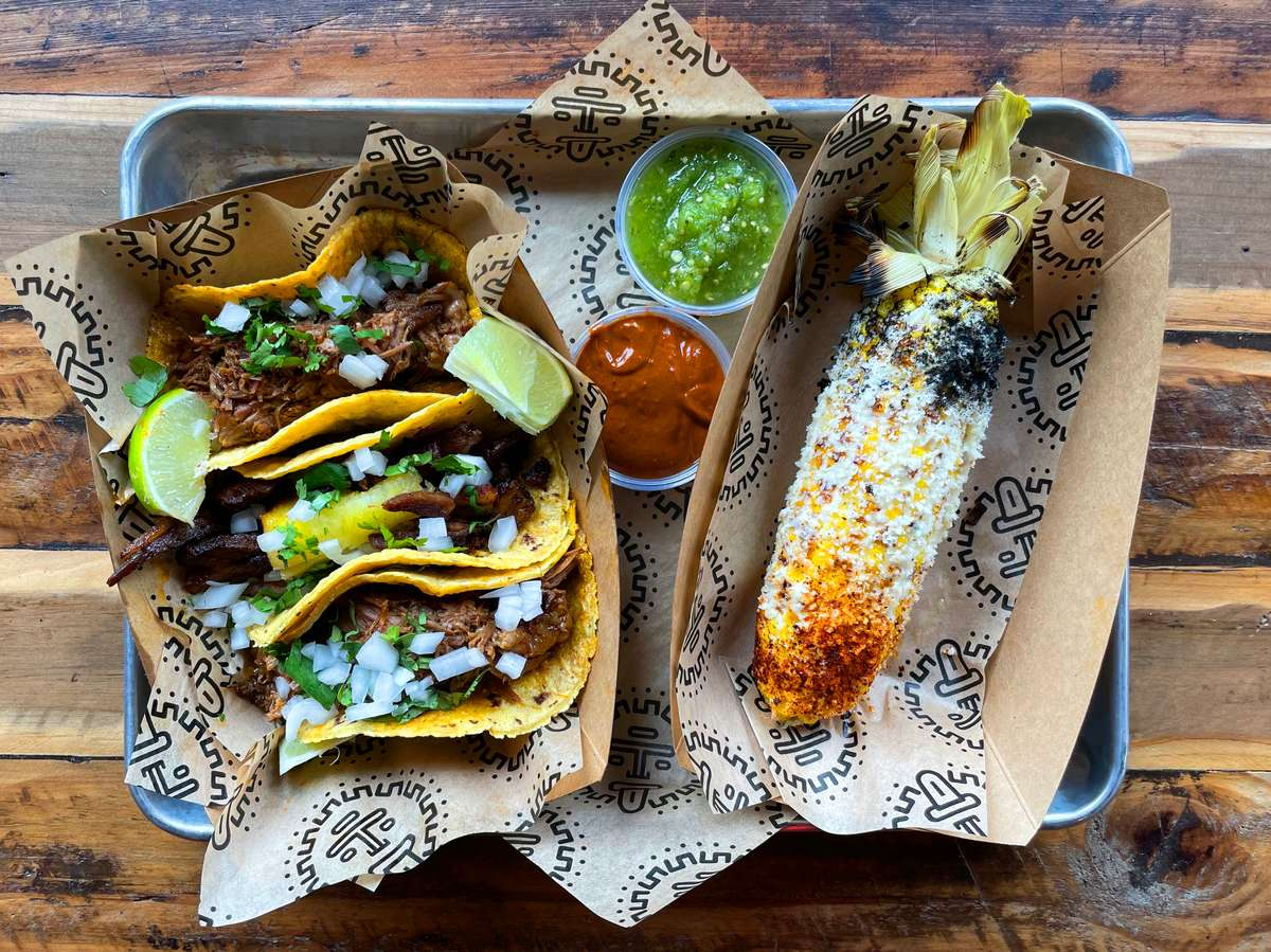 tacos and elote