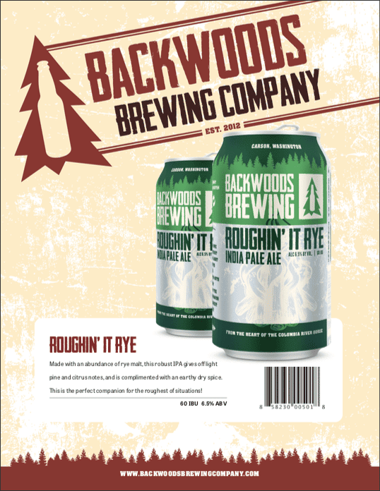 cans of roughin' it rye india pale ale- click to download PDF