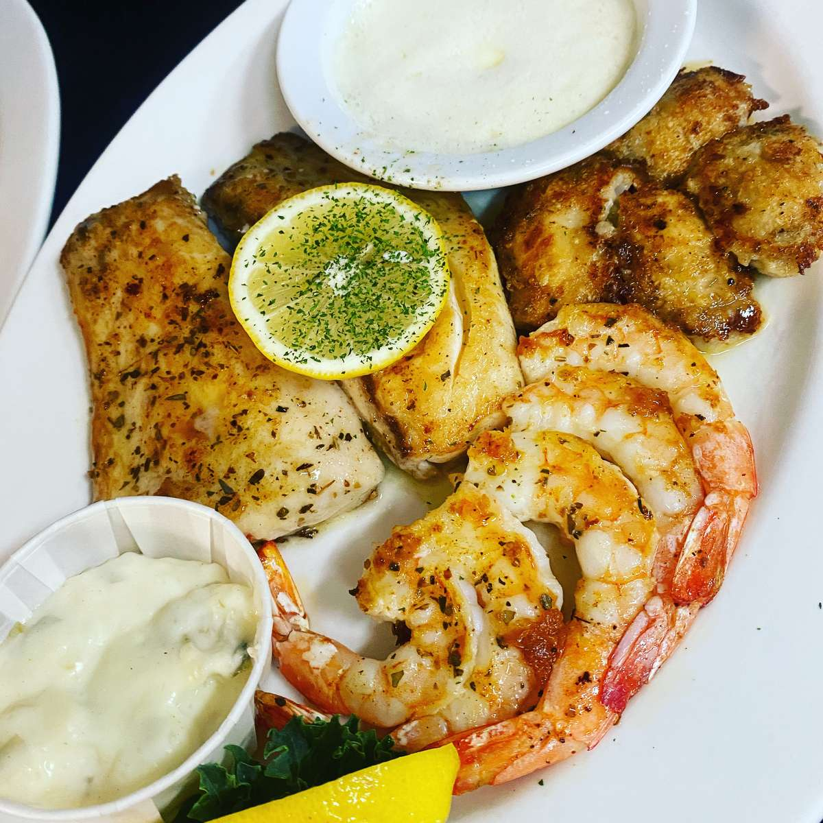 Broiled Snapper Combination Platter