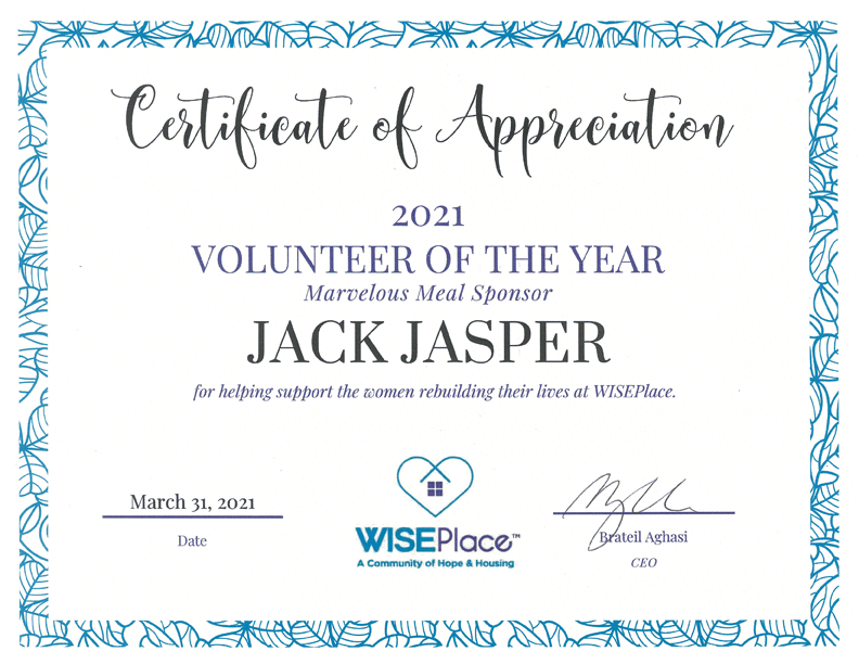 Wiseplace 2021 Volunteer of the Year