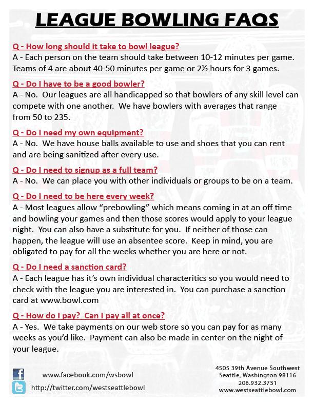 League Bowling FAQs