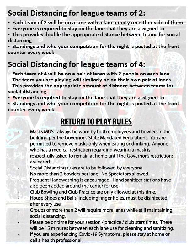 League Distancing Info & Return to Play Rules