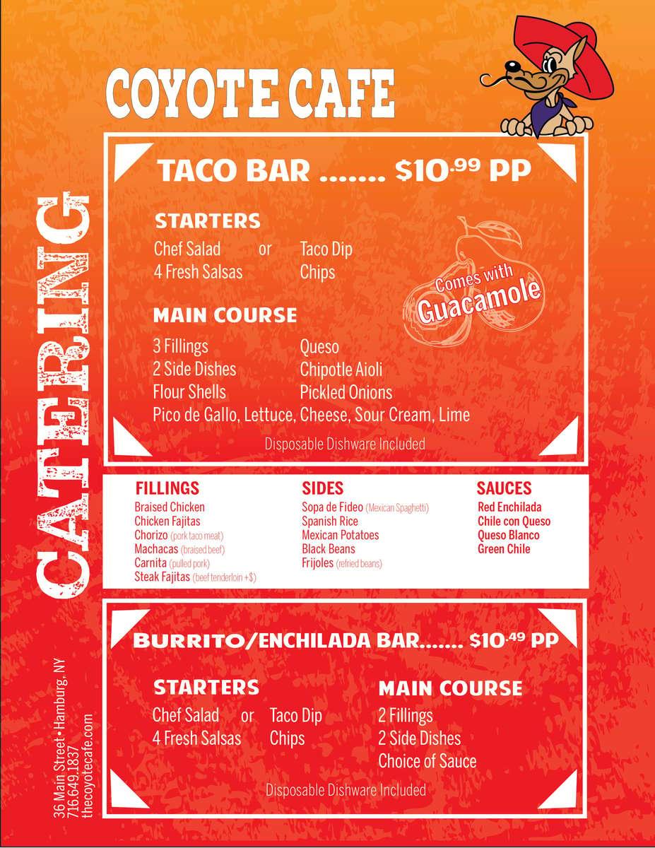 Catering Per Person menu