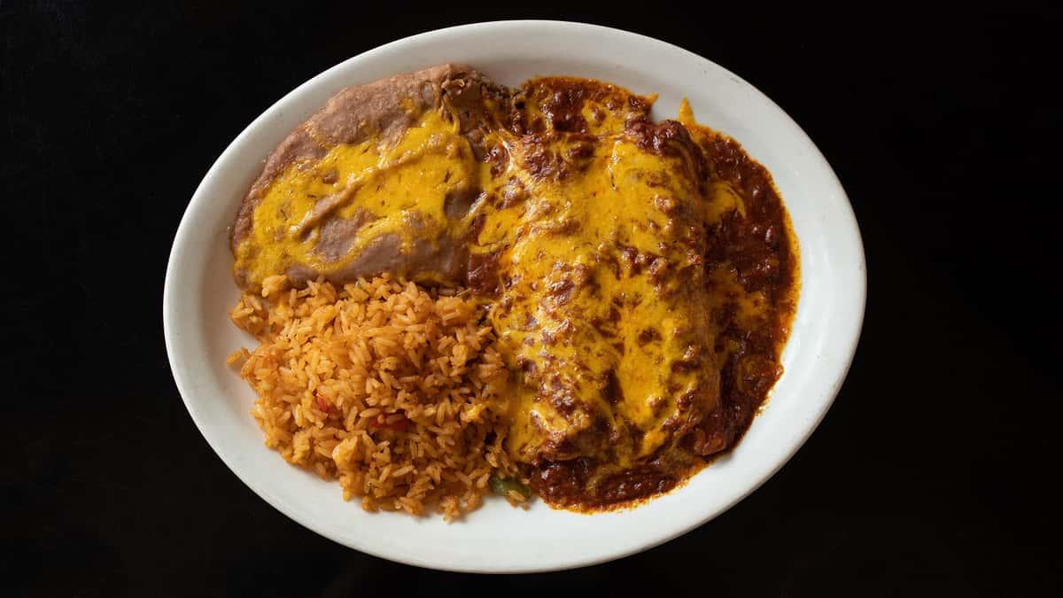 Beef Enchiladas or Green Chicken Enchiladas or Chicken Fried Steak
