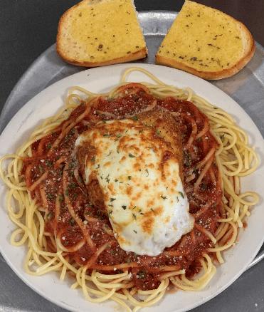 Breaded Chicken Parmesan w/ Alfredo or Marinara Sauce