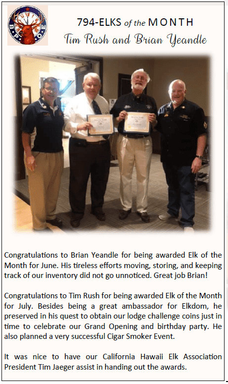 Elks of the month