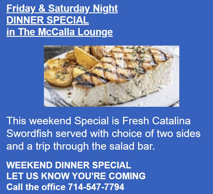 WEEKEND DINNER SPECIAL 9-24 / 9-25