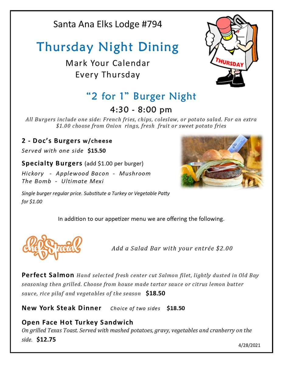 two for one burger night
