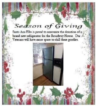 SA Elks Donated a New Refrigerator to the SA Veterans Home 2019