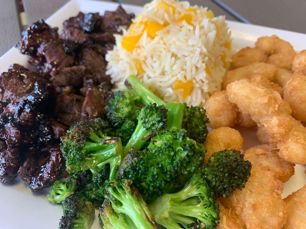 Steak and Coconut Shrimp