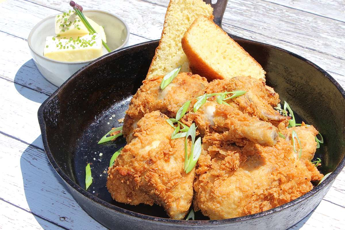 fried chicken in a skillet