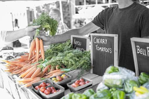 Farmers table with produce