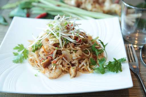 Plate of Thai style noodles.