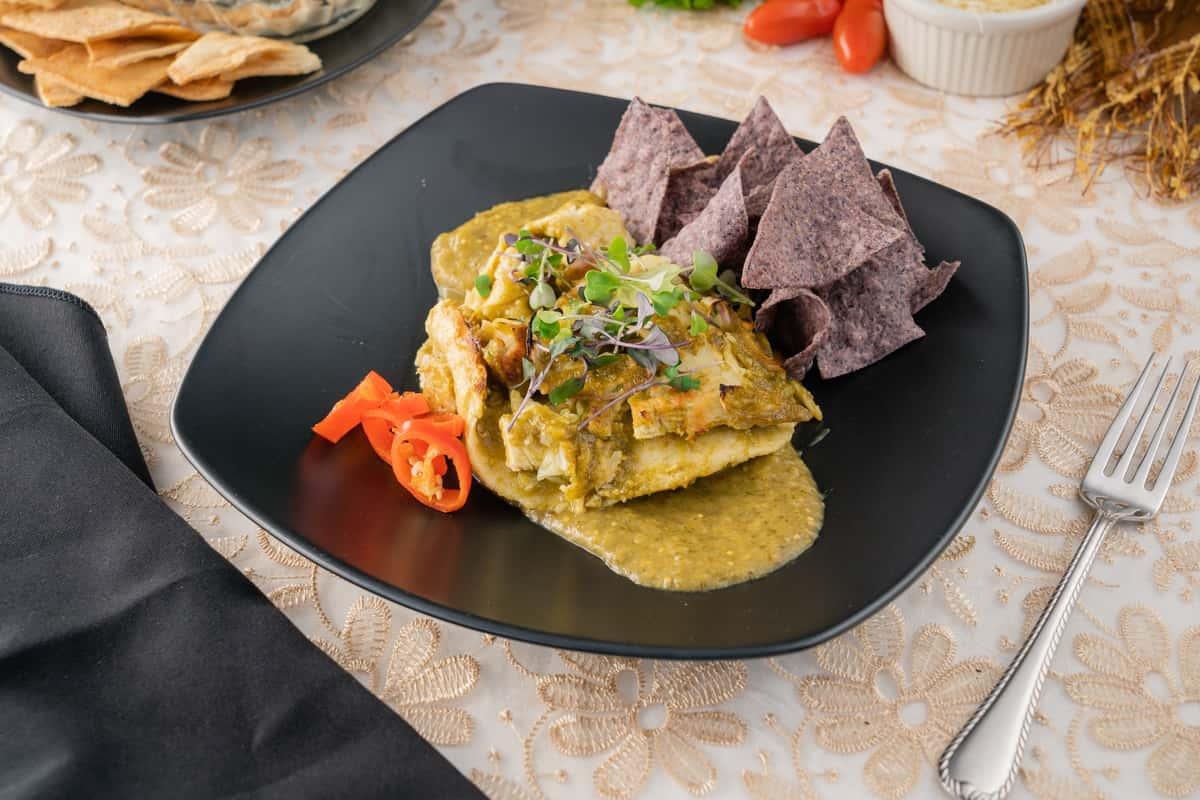 Stacked chicken Enchiladas Verdes