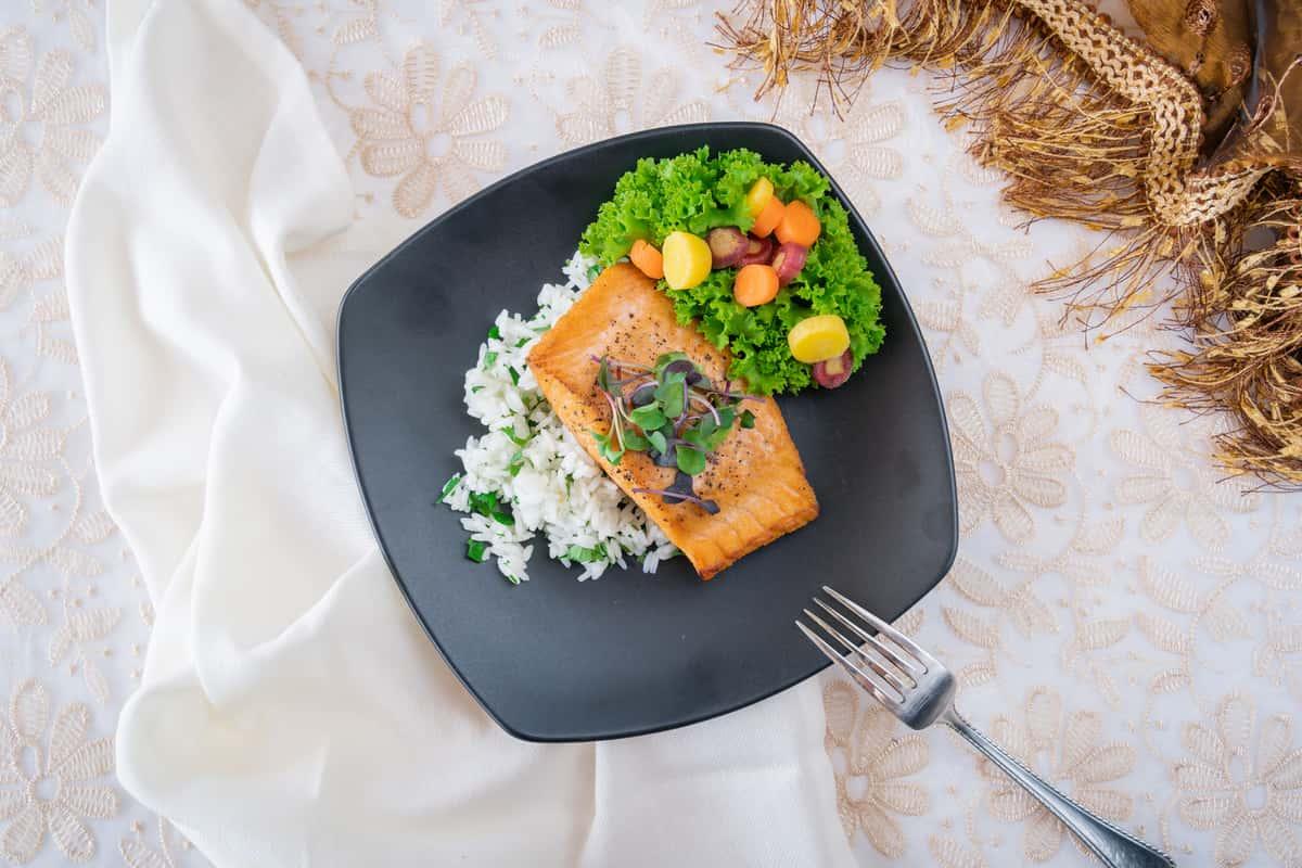 pan Broiled Salmon Over Cilantro Rice