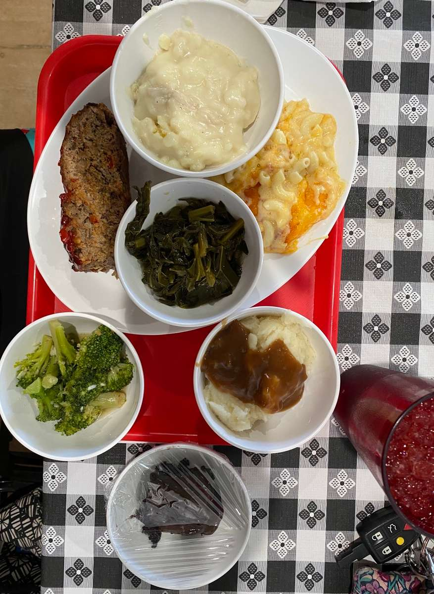 Cafeteria Style: One trip Meat | Veggies | Bread | Cobbler | Tea