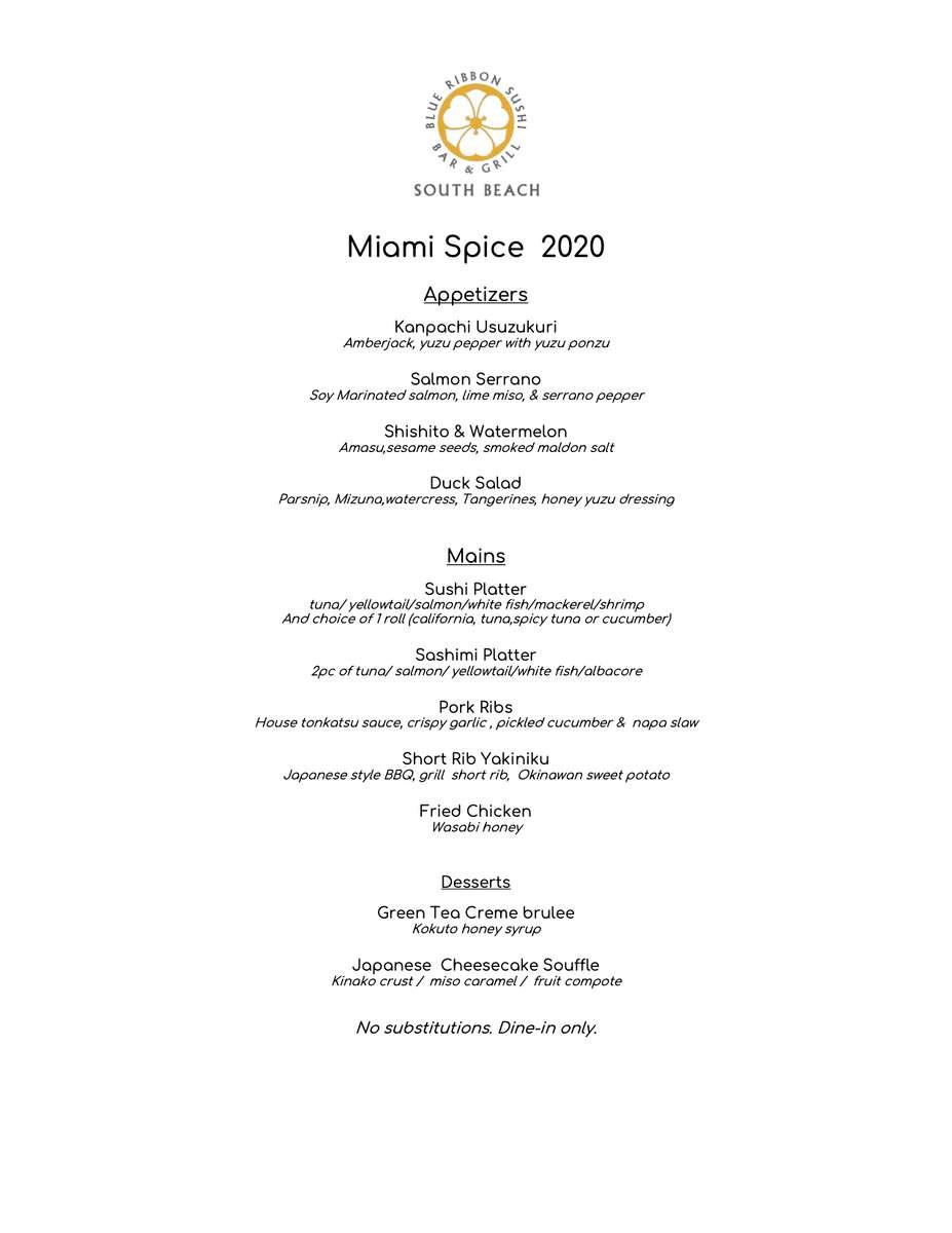 Miami Spice 2020 Menu