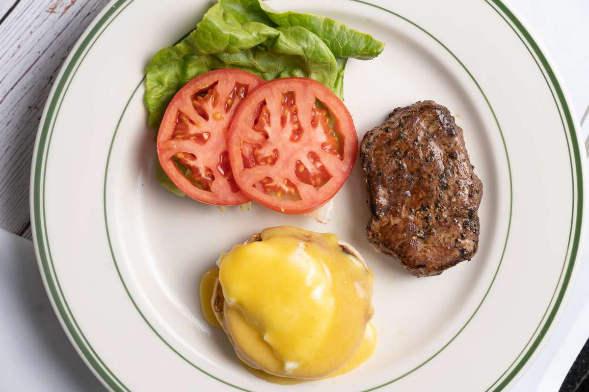 Filet and one Egg Benedict
