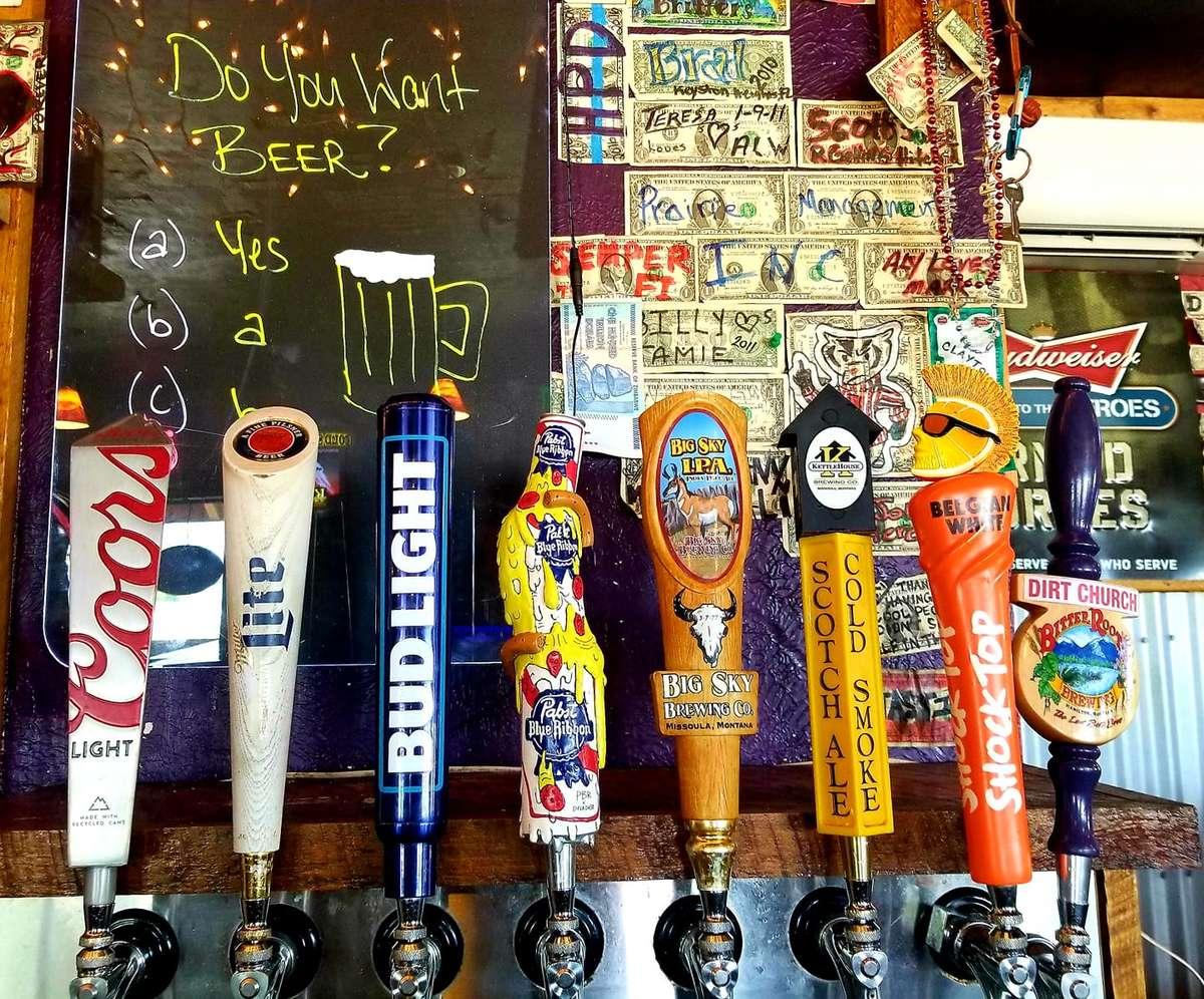Numerous beer taps