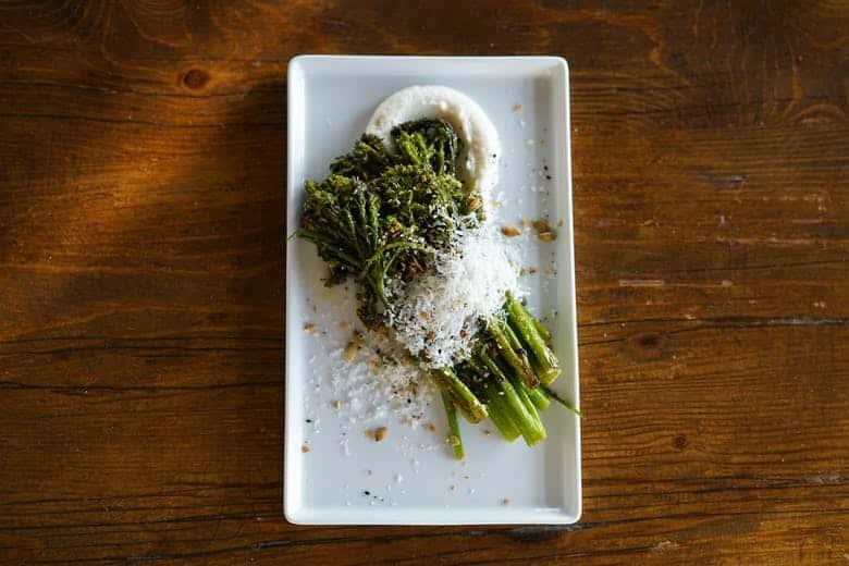 Charred Broccolini, Sweet Garlic Puree, Meyer Lemon Vinaigrette, and Parmesan