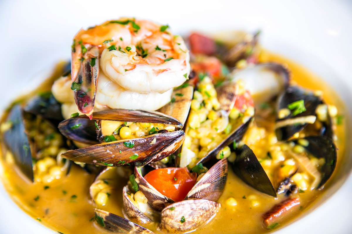 Chardonnay Steamed Manilla Clams, Mexican White Prawns & P.E.I. Mussels