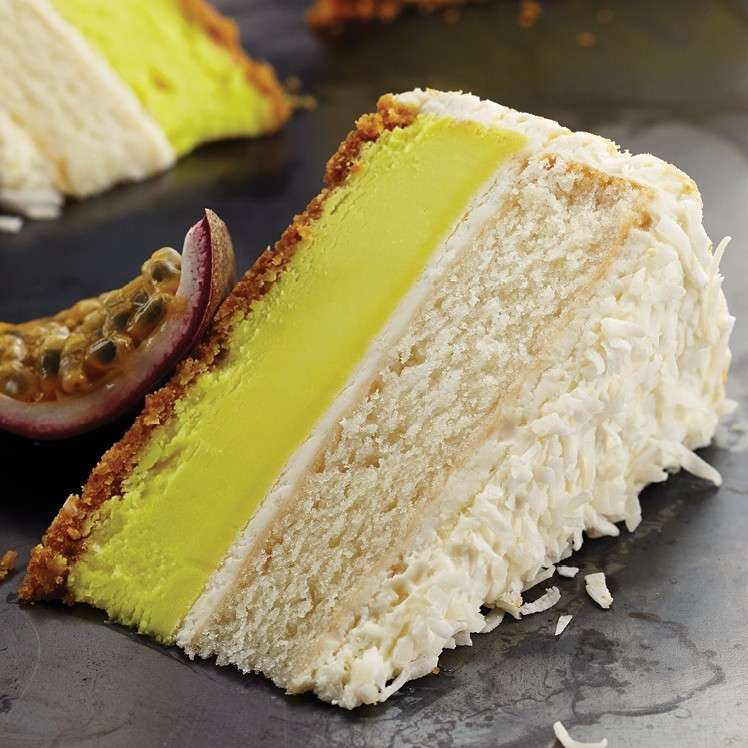 PASSION FRUIT LAYERED CHEESECAKE WITH FAIR TRADE COCONUT