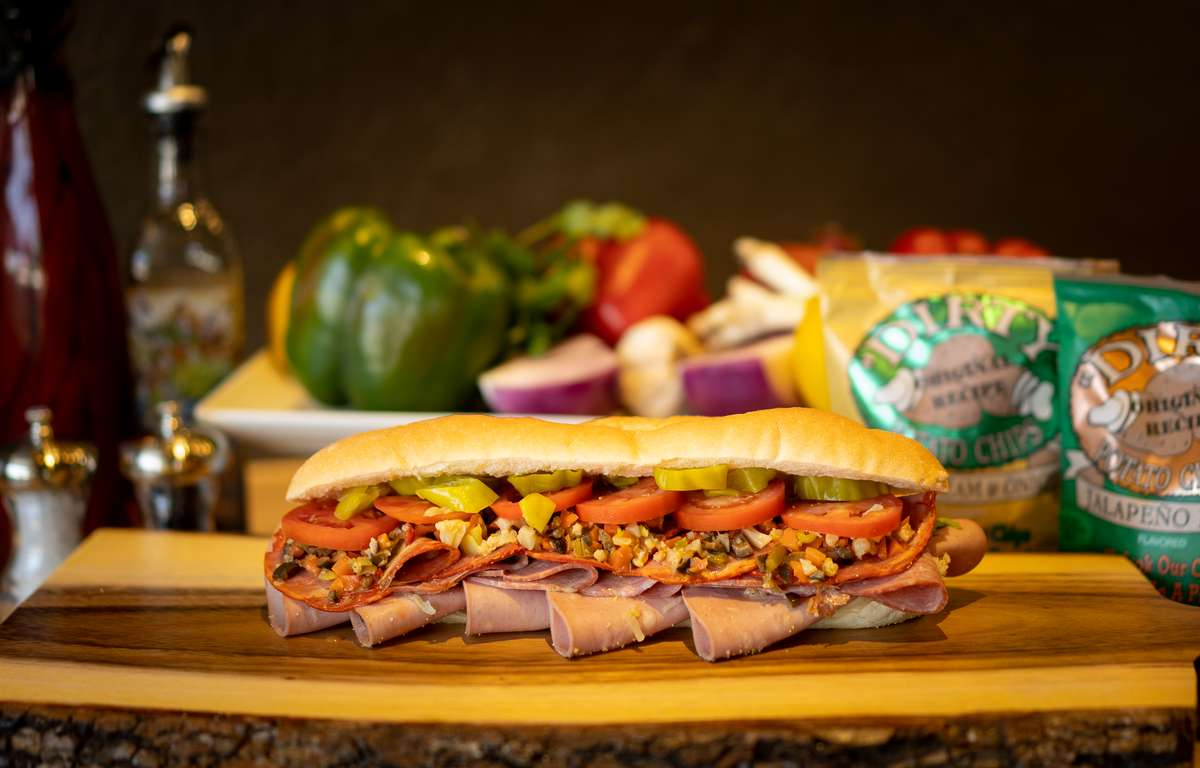 Specialty sub with ample meat and vegetables