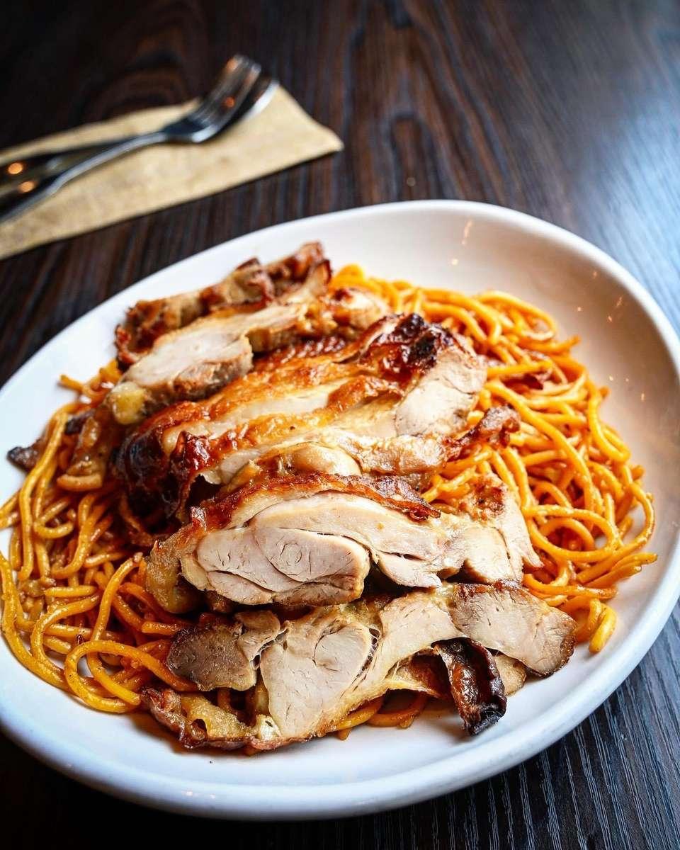Grilled Chicken With Garlic Noodles