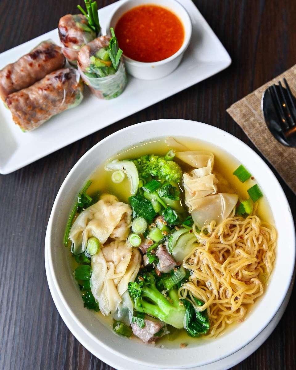 Wonton Noodle Soup & Pork Rolls