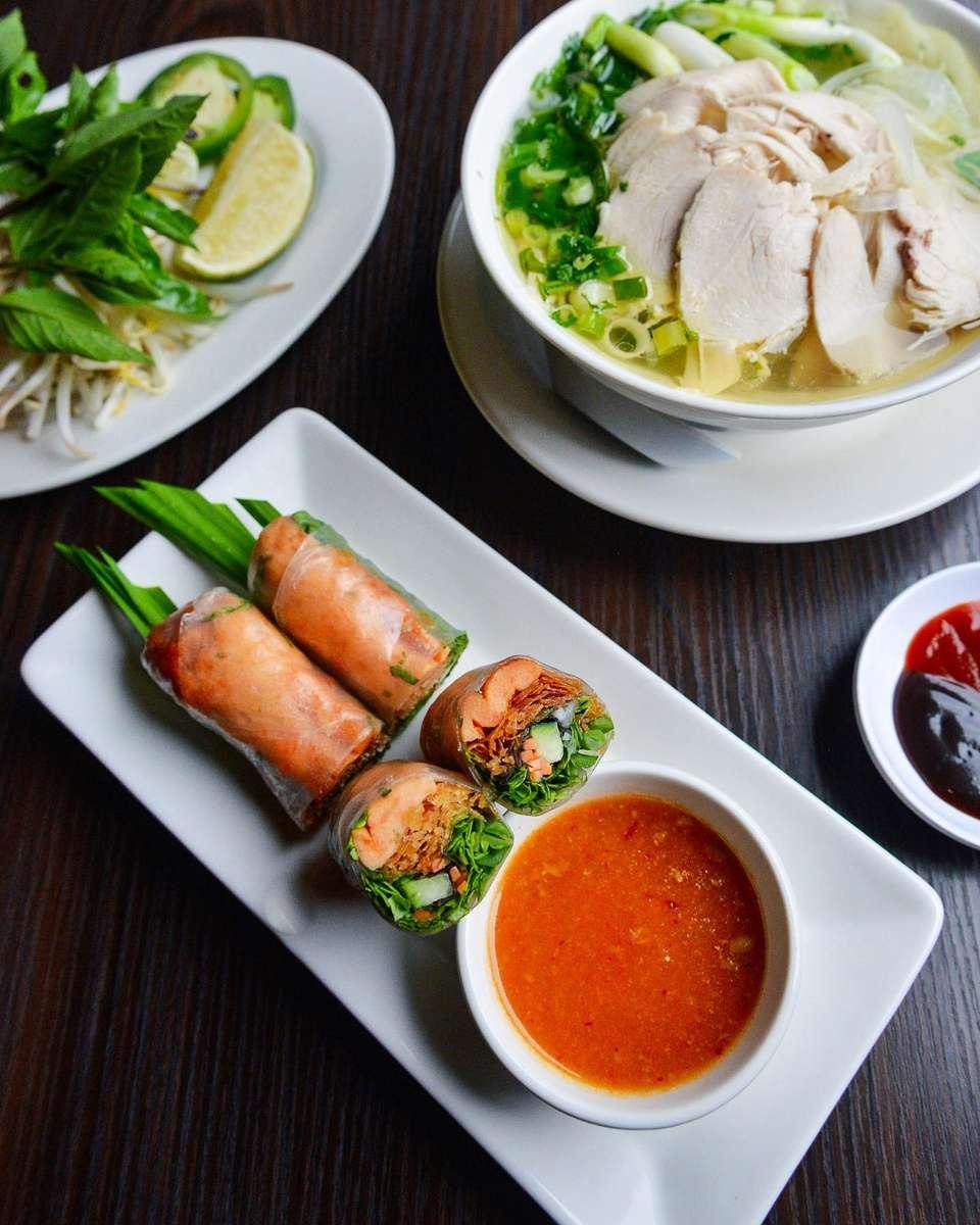 Chicken Noodle Soup & Shrimp Rolls
