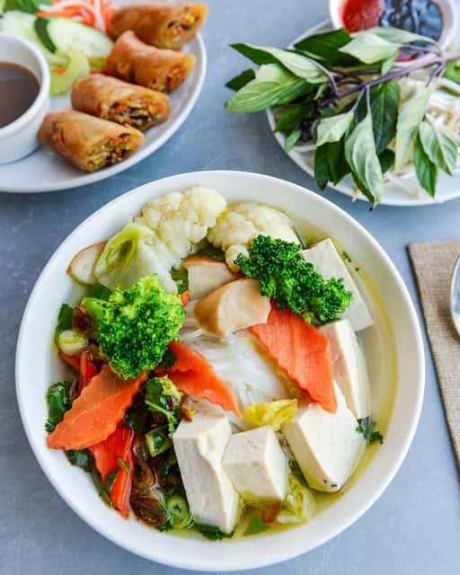 Tofu Noodle Soup & Veggie Egg Rolls