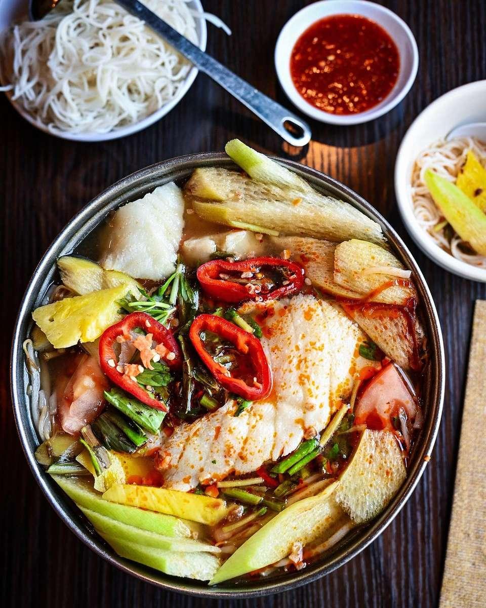 """Chilean Sea Bass Hot Pot """"Canh Chua"""""""