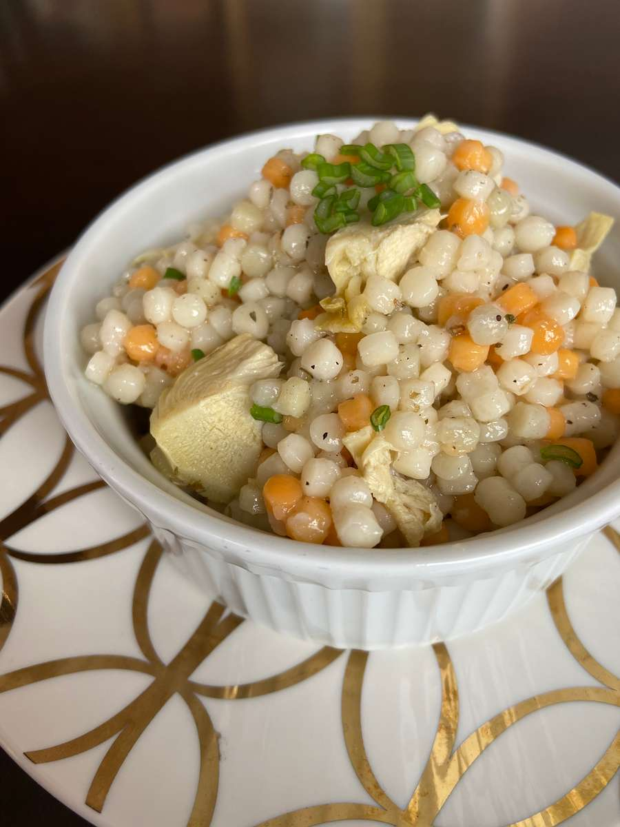Pearl Cous Cous with Chives & Artichokes