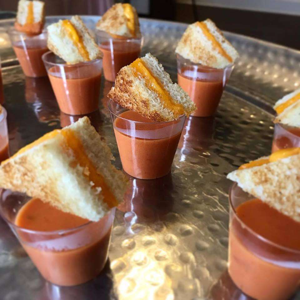 Tomato Bisque Shooters with Bacon Cheddar Croutons